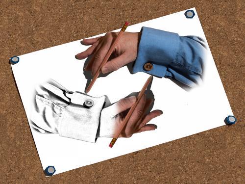 D Drawing Hands (Tribute to M C Escher)